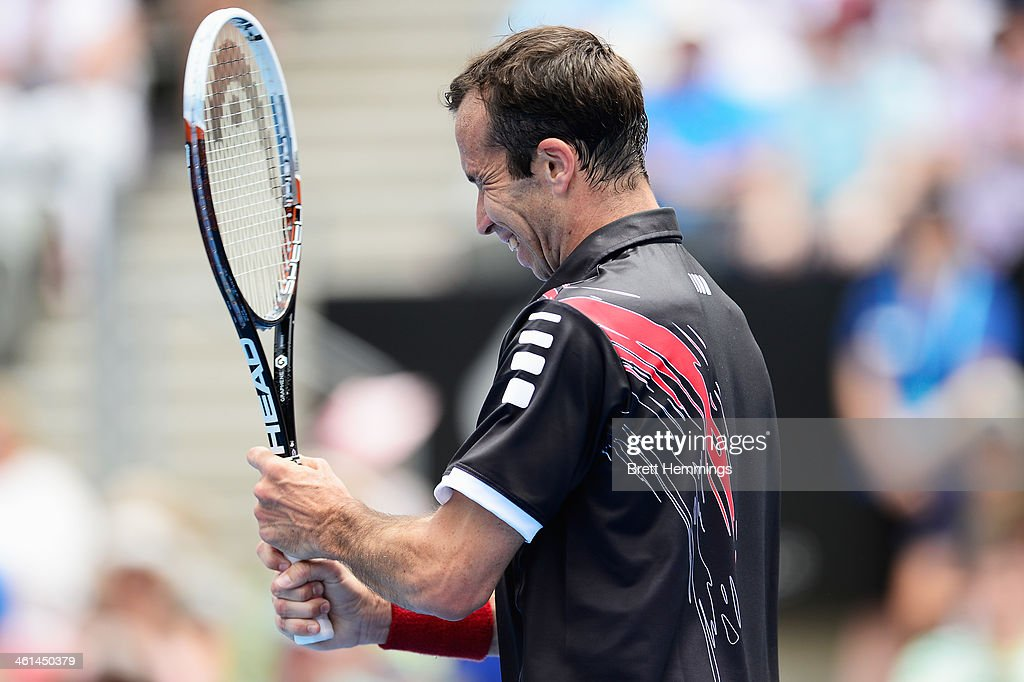 Radek Stepanek of the Czech Republic shows his frustration in his quarter final match against Juan Martin Del Porto of Argentina of the Czech Republic during day five of the 2014 Sydney International at Sydney Olympic Park Tennis Centre on January 9, 2014 in Sydney, Australia.