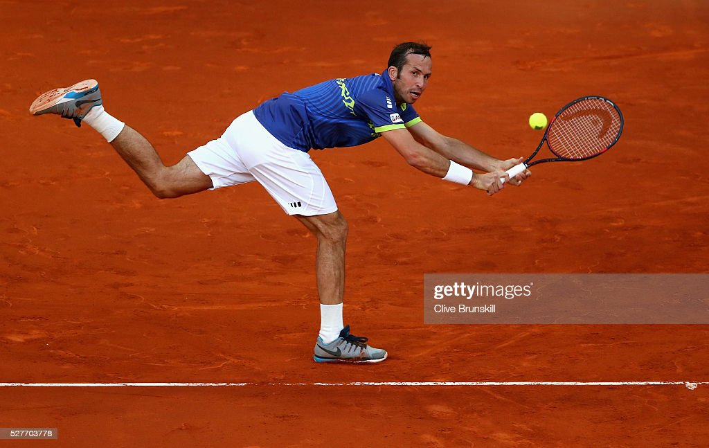 <a gi-track='captionPersonalityLinkClicked' href=/galleries/search?phrase=Radek+Stepanek&family=editorial&specificpeople=193842 ng-click='$event.stopPropagation()'>Radek Stepanek</a> of the Czech Republic stretches to play a backhand against Andy Murray of Great Britain in their second round match during day four of the Mutua Madrid Open tennis tournament at the Caja Magica on May 03, 2016 in Madrid,Spain.