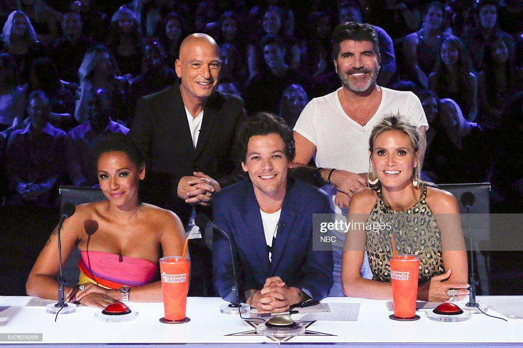 S GOT TALENT -- 'CBS Radford Auditions' -- Pictured: (l-r) Mel B, Howie Mandel, Louis Tomlinson, Simon Cowell, Heidi Klum --