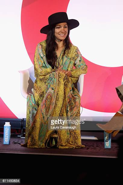 Radha Agrawal speaks onstage at the shared value how to build your brand with creator communities the right way panel at BB King during 2016...