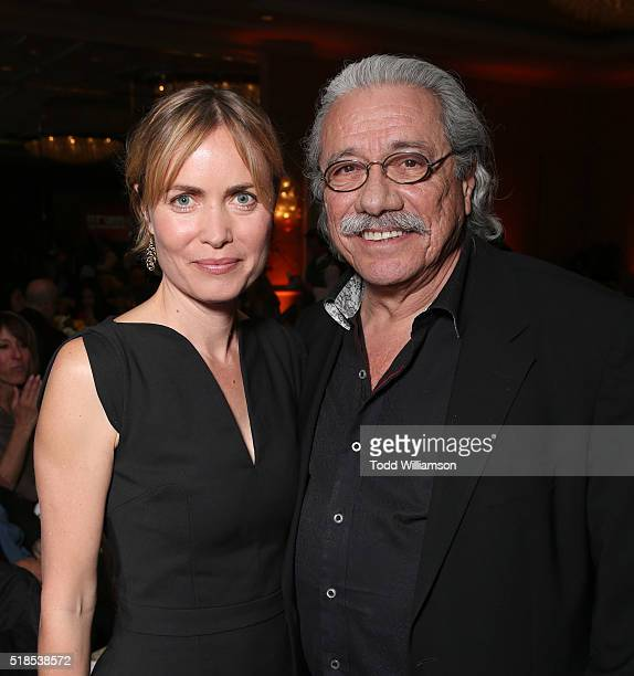 Radha Mitchell and Edward James Olmos attend the 30th Anniversary ISRAEL FILM FESTIVAL Annual Sponsor Luncheon on March 31 2016 in Beverly Hills...