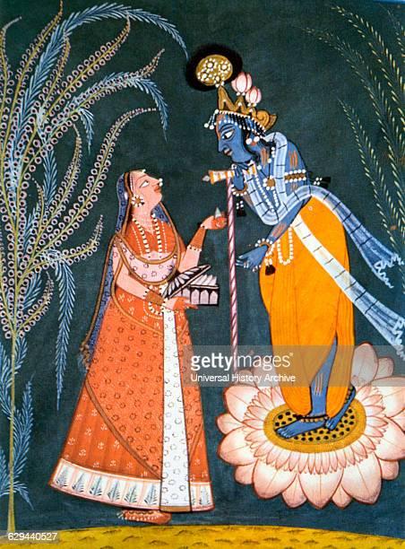 Radha Visiting Krishna at Night Miniature Painting Early 18th Century
