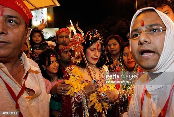 Radhe Maa selfproclaimed Godwoman visits Siddhivinayak Temple Prabhadevi on August 27 2012 in Mumbai India Radhe Maa has been accused of dowry...