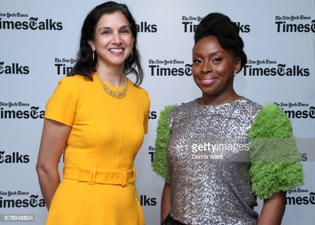Radhika Jones and Chimamanda Ngozi Adichie appear to speak during Times Talks at Florence Gould Hall on May 4 2017 in New York City