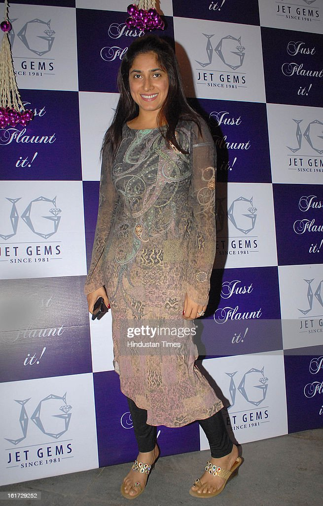 Radhika Mukherjee during the launch of Pradeep Jethani's flagship store 'Jet Gems' at Turner Road, Bandra on February 13, 2013 in Mumbai, India.