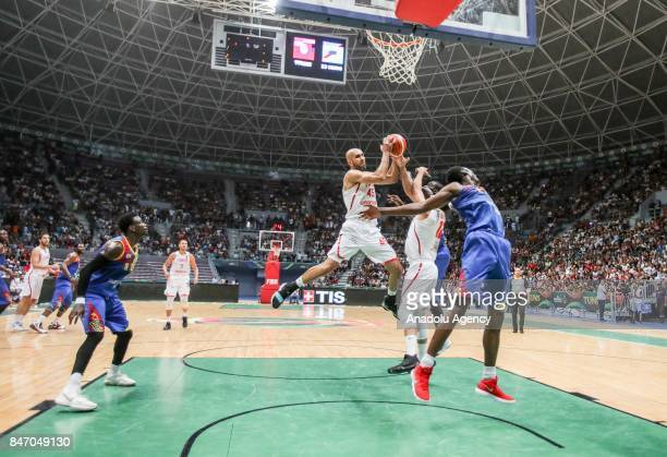 Radhouane Slimane of Tunisia in action during the AfroBasket 2017 Quarter final round between Tunisia and Democratic Republic of the Congo at Rades...