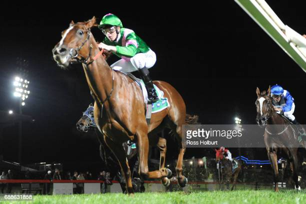 Radiant Rouge ridden by Ethan Brown wins the Highview Accounting Financial Services Maiden Plate at Cranbourne Racecourse on May 26 2017 in...
