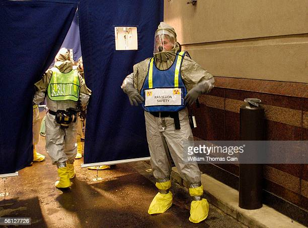 Radiation safety personnel at Thomas Jefferson University Hospital prepare for a mass casualty terrorist drill November 9 2005 in Philadelphia...