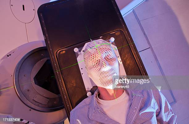 Radiation therapy mask over a patient's face