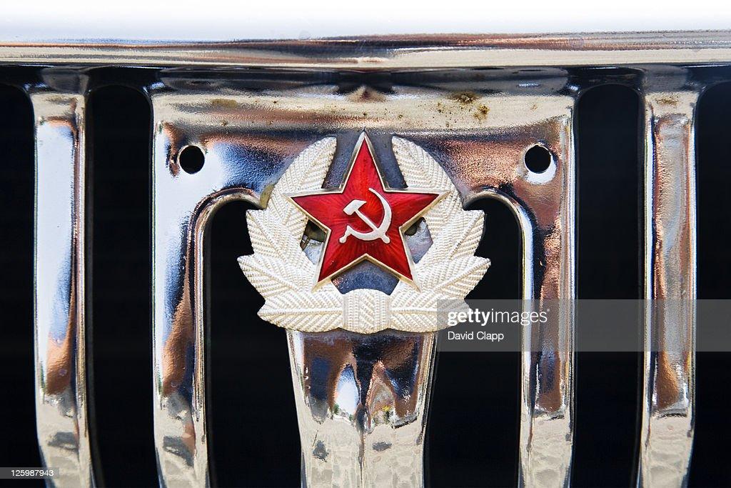 Radiator grill of Volga car, now used for city tours, parked in Kazimierz, Krakow, Poland : Stock Photo