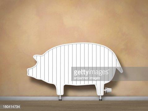 A radiator that looks like a piggy bank