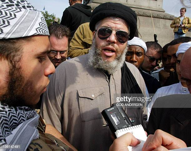 Radical muslim clergyman Sheikh Abu Hamza addresses media after speaking at the 'Rally for Islam' at Trafalgar Square in central London 25 August...