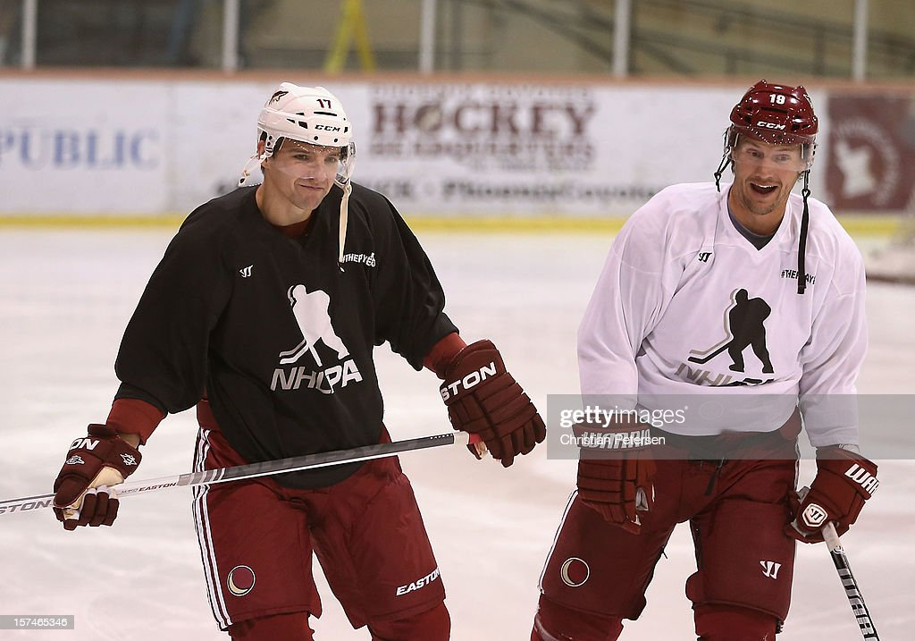 Radim Vrbata #17 and Shane Doan #19 of the Phoenix Coyotes participate in a workout at the Ice Den on December 3, 2012 in Scottsdale, Arizona. More than a dozen players from around the league that are not able to play during the NHL lockout have been attending workouts at the Phoenix Coyotes practice rink.