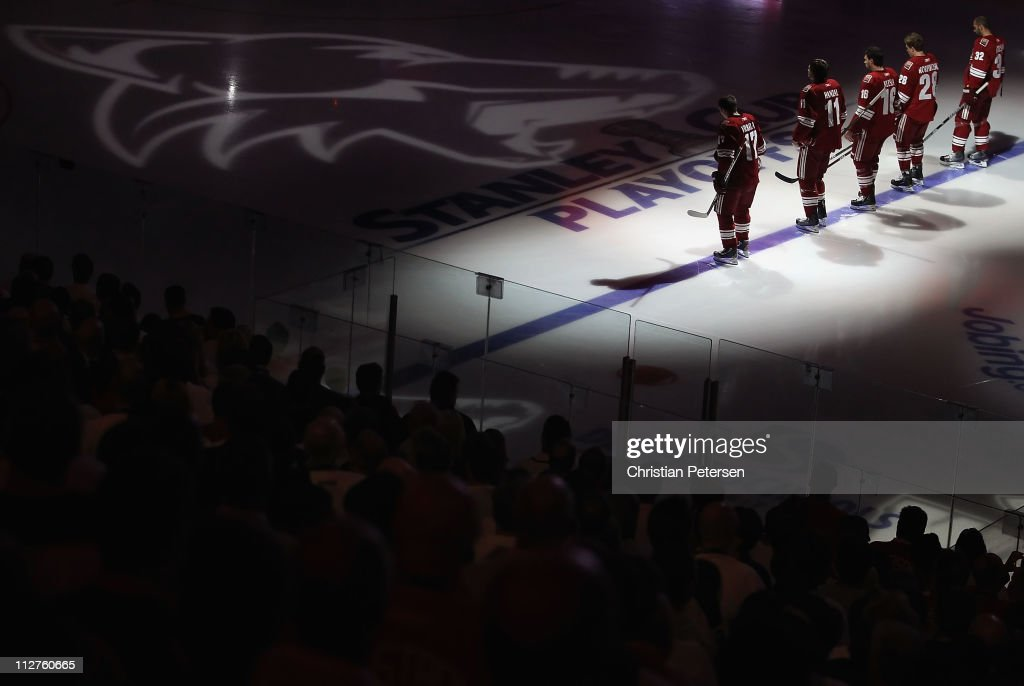 Radim Vrbata Martin Hanzal Rostislav Klesla Eric Belanger and Michal Rozsival of the Phoenix Coyotes stand attended for the National Anthem before...