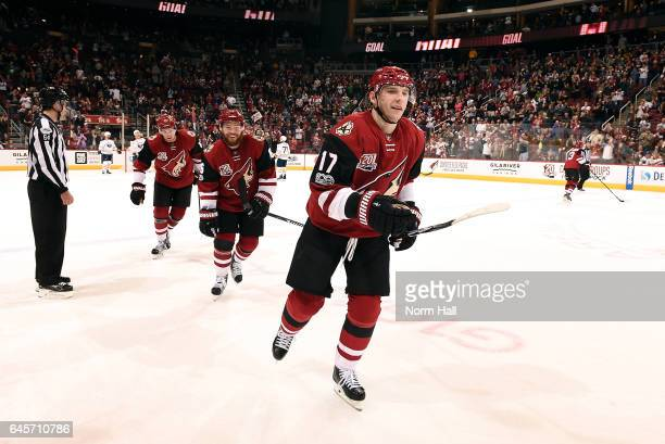 Radim Vrbata of the Arizona Coyotes skates off the ice after scoring a third period goal against the Buffalo Sabres at Gila River Arena on February...