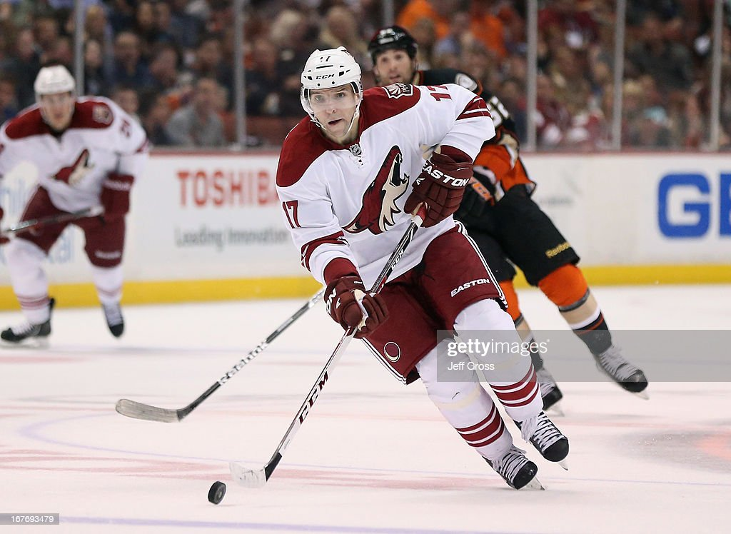 <a gi-track='captionPersonalityLinkClicked' href=/galleries/search?phrase=Radim+Vrbata&family=editorial&specificpeople=204716 ng-click='$event.stopPropagation()'>Radim Vrbata</a> #17 of the Phoenix Coyotes skates with the puck in the second period against the Anaheim Ducks at Honda Center on April 27, 2013 in Anaheim, California. The Coyotes defeated the Ducks 5-3.