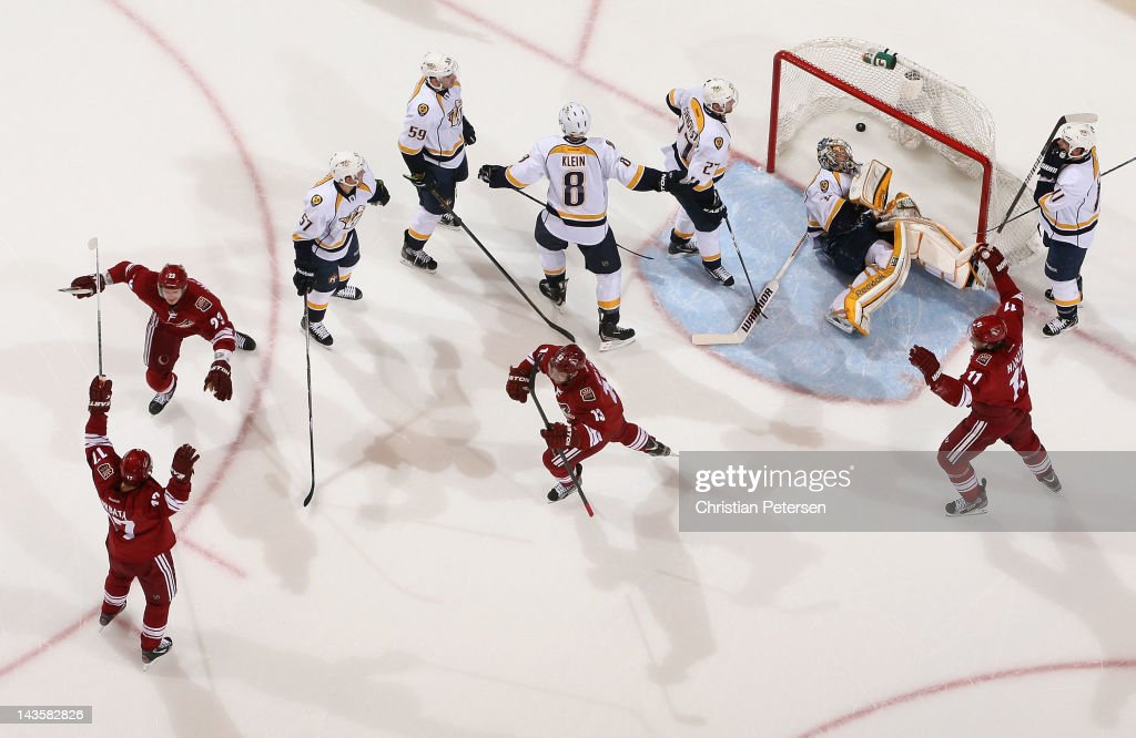 Radim Vrbata Oliver EkmanLarsson Ray Whitney and Martin Hanzal of the Phoenix Coyotes celebrate after Vrbata scored a second period goal past...