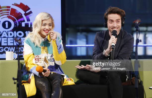 BBC Radio 1 DJ Nick Grimshaw and Rita Ora as he broadcasts his BBC Radio 1 Breakfast Show from BBC Scotland in Glasgow