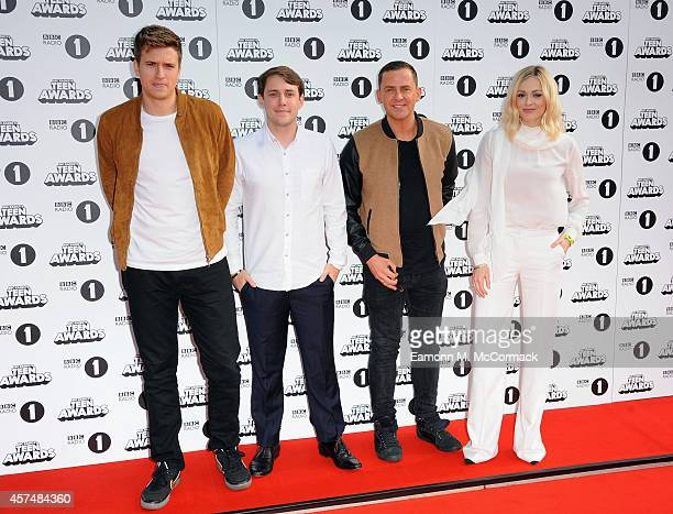 Radio 1 Dj's Greg James Scott Mills Chris Stark and Fearne Cotton attend the Radio One Teen Awards at Wembley Arena on October 19 2014 in London...
