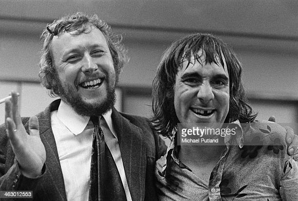 BBC Radio 1 producer and presenter John Walters with drummer Keith Moon of The Who 11th July 1973