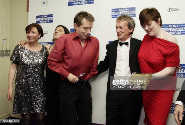 Radio 5 Live presenters Nicky Campbell and Shelagh Fogerty with Frank Skinner backstage before collecting The Breakfast Show Award for 5 Live...