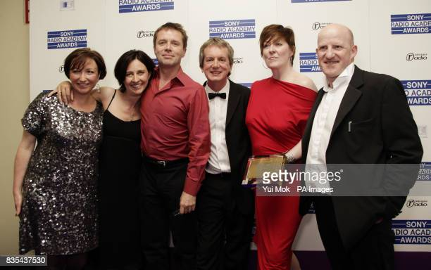 Radio 5 Live presenters Nicky Campbell and Shelagh Fogerty with other members of the Breakfast Show and Frank Skinner backstage collecting The...