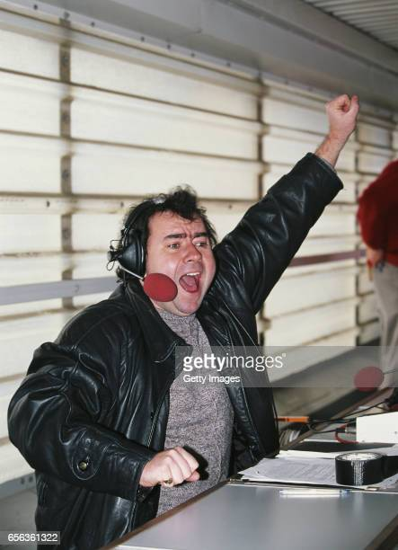 Radio and Television broadcaster Jonathan Pearce in action during a Premiership match between Middlesbrough and Chelsea at the Riverside Stadium on...