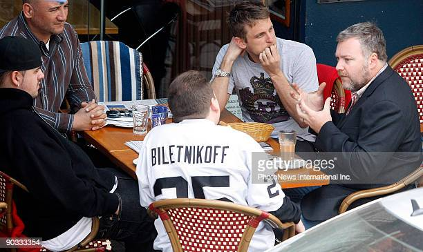 Radio and television personality Kyle Sandilands meets with friends and his manager at Double Bay on September 3 2009 in Sydney Australia