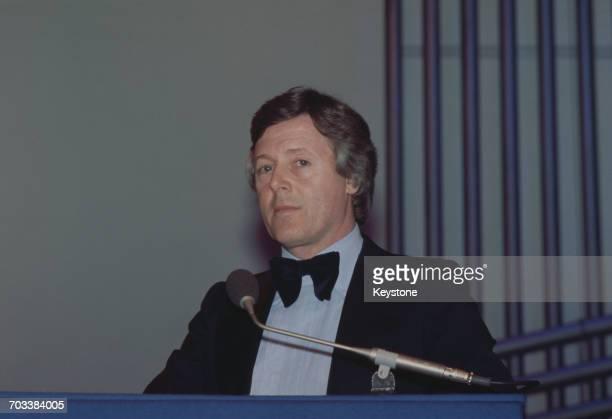 Radio and television presenter Michael Aspel at the Capital Radio Music Awards at Grosvenor House London circa 1975
