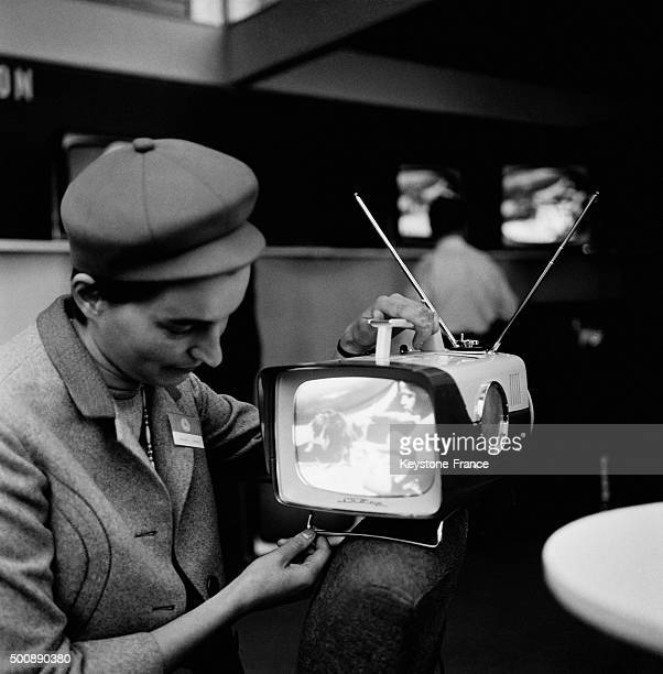 Radio and Televison Fair at the Porte de Versailles exhibition hall presents the last hi fi technics and new TV set like this mobile television on...