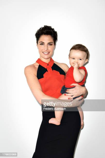 Radio and TV personality Alessandra Sublet is photographed with her daughter Charlie for ELLE France on March 28 2013 in Paris France PUBLISHED IMAGE