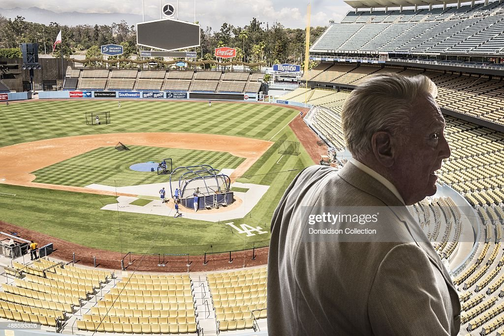 Radio announcer <a gi-track='captionPersonalityLinkClicked' href=/galleries/search?phrase=Vin+Scully&family=editorial&specificpeople=878517 ng-click='$event.stopPropagation()'>Vin Scully</a> poses for a poses for a portrait in his studio booth on July 29, 2015 at Dodger Stadium in Los Angeles, California.