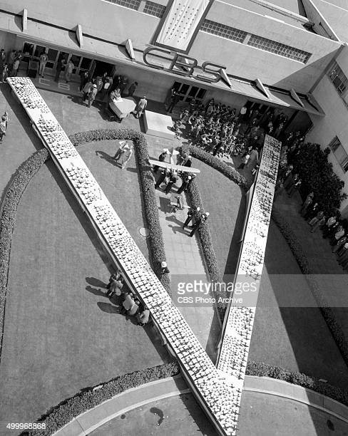 Radio at Columbia Square Hollywood CA Model airplanes made by Los Angeles area high school students assembled in a large V for Victory in the...