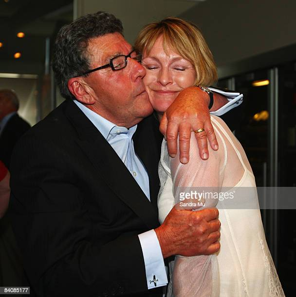 Radio broadcaster Paul Holmes hugs Susan Wood after working together for so many years as he celebrates completing 21 years as Newstalk ZB breakfast...