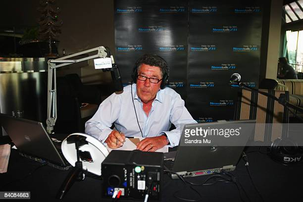 Radio broadcaster Paul Holmes takes a few notes during his last show as he completes 21 years as Newstalk ZB breakfast host at Sails Restaurant on...