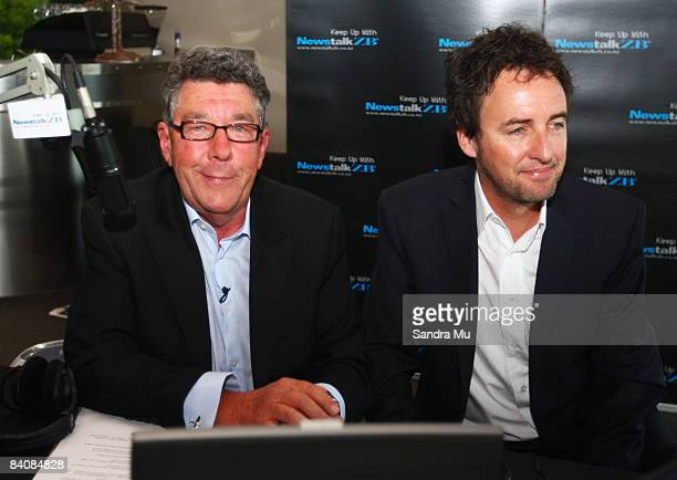 Radio broadcaster Paul Holmes with Mike Hosking who will be taking Holmes position during his last show as he completes 21 years as Newstalk ZB...