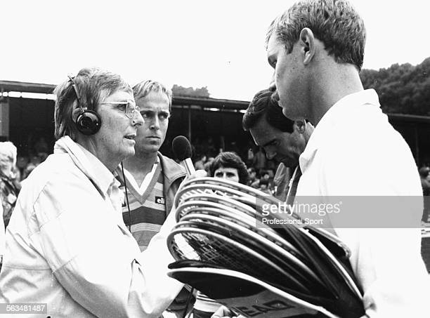 BBC Radio commentator Gerald Williams interviews British tennis players Buster Mottram and John Lloyd of the Great Britain Davis Cup team during the...