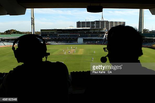 Radio commentators broadcast from the Prindiville stand during day one of the Sheffield Shield match between Western Australia and Tasmania at WACA...