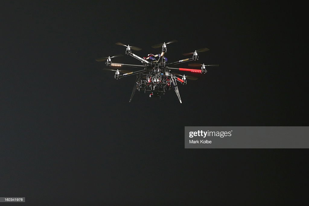 A radio controlled camera hovers above the play during the NRL Charity Shield match between the South Sydney Rabbitohs and the St George Illawarra Dragons at ANZ Stadium on February 22, 2013 in Sydney, Australia.