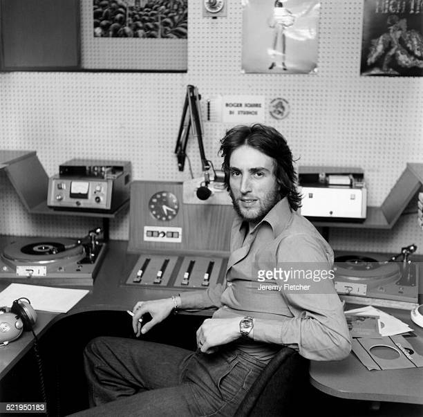 Radio disc jockey Johnny Walker at the BBC radio studios London 1972