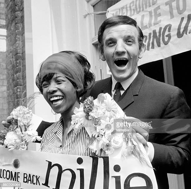Radio DJ Alan Freeman welcomes pop singer Millie back to Carlton Hill Studios aftewr shw was rushed to hospital for suspected appendicitis May 1964...