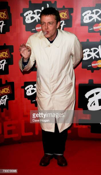 Radio DJ and musician Suggs arrives at The BRIT Awards 2007 in association with MasterCard at Earls Court 1 on February 14 2007 in London England