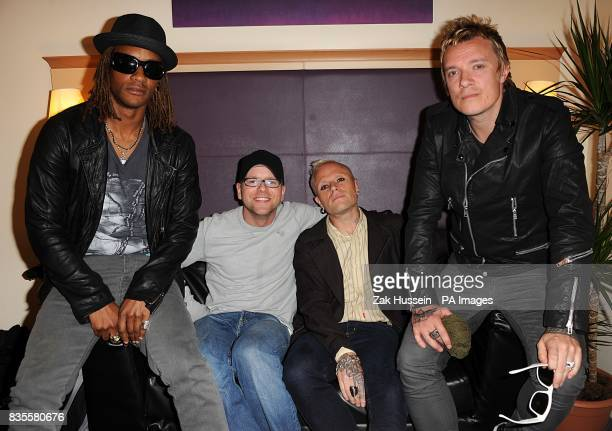 Radio DJ Ben Jones with The Prodigy backstage at the Isle of Wight festival in Newport on the Isle of Wight