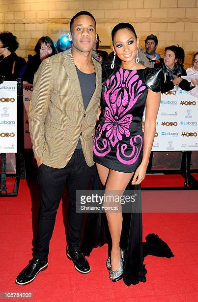 Radio DJ Reggie Yates and Alesha Dixon arrive at MOBO Awards 2010 at Echo Arena on October 20 2010 in Liverpool England
