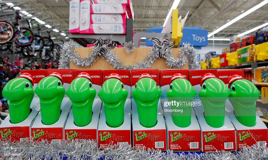 Radio Flyer Inc. The Inchworm toys are displayed for sale at a Wal-Mart Stores Inc. location ahead of Black Friday in Los Angeles, California, U.S., on Tuesday, Nov. 26, 2013. Wal-Mart Stores Inc. said Doug McMillon, head of its international business, will replace Mike Duke as chief executive officer when he retires as the world's largest retailer struggles to ignite growth at home and abroad. Photographer: Patrick T. Fallon/Bloomberg via Getty Images
