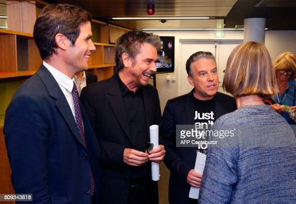 Radio France President Mathieu Gallet French composer performer and record producer JeanMichel Jarre French journalist Philippe Vandel and French...