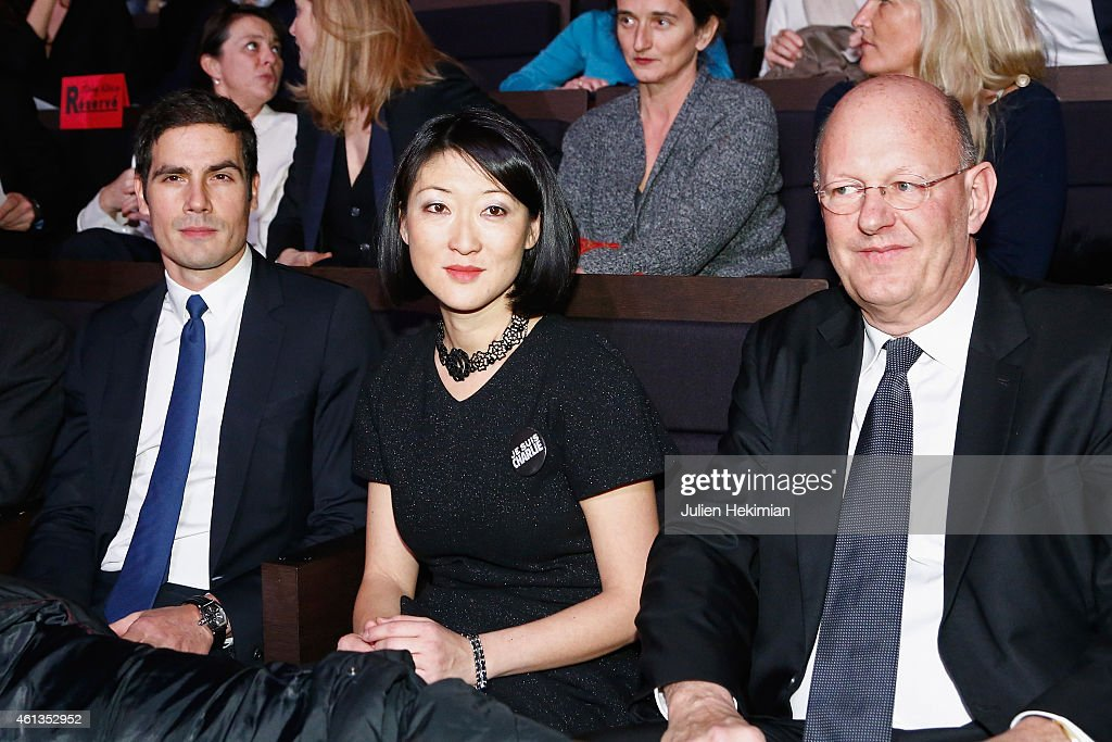 Radio France President Mathieu Gallet, French Minister for Culture Fleur Pellerin and France Television President Remy Pflimlin attend 'Tous En Coeur Pour Charlie' at Maison De La radio on January 11, 2015 in Paris, France.
