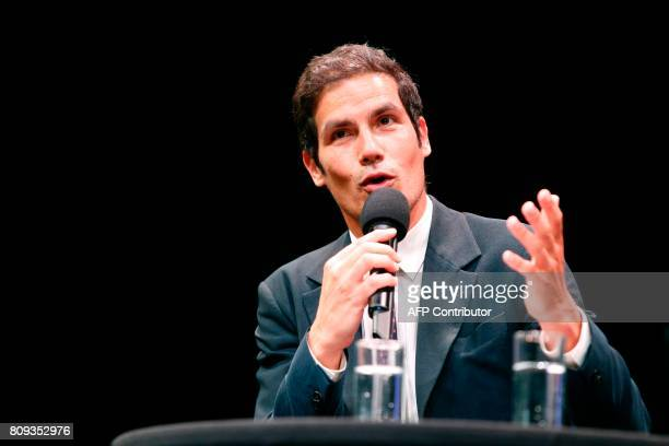 Radio France President Mathieu Gallet gestures as he delivers during a masterclass at the Maison de la Radio in Paris on July 5 2017 as part of the...
