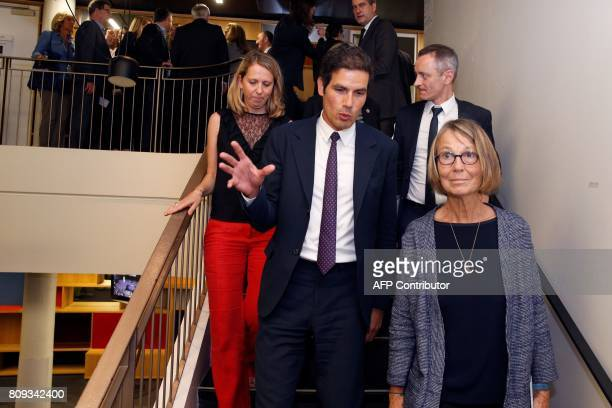 Radio France President Mathieu Gallet gestures as he speaks with French Culture Minister Francoise Nyssen at the Maison de la Radio in Paris on July...