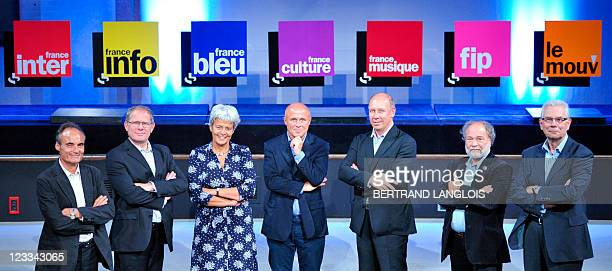 Radio France's directors Philippe Val director of France Inter Philippe Chaffanjon director France Info Anne Brucy director France Bleu Olivier...